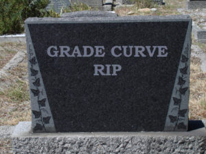 Tombstone inscribed, Grade Curve RIP