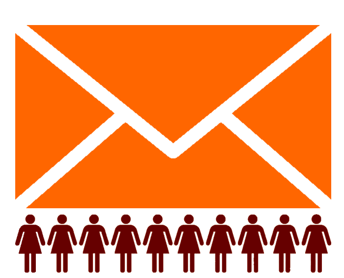 Icon with orange email envelope with ten maroon girls