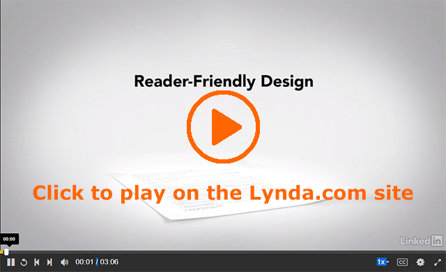 Screenshot of the opening image from the Lynda.com video on Reader-Friendly Design in Proposals