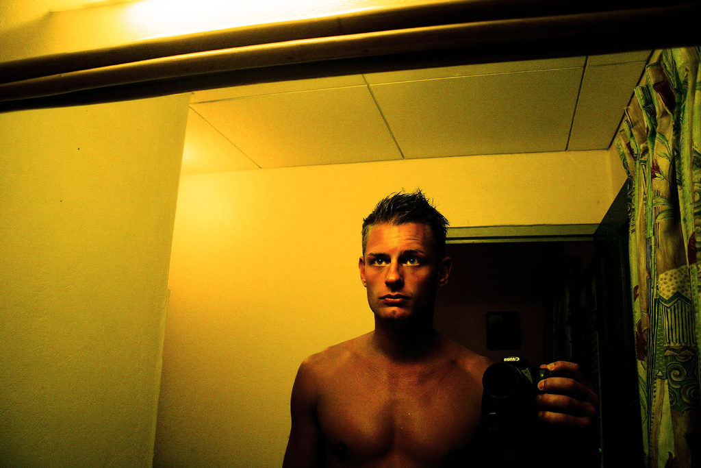 Bathroom mirror selfie. Self Portrait in Barbados by Jens karlsson on Flickr, used under a CC-BY license